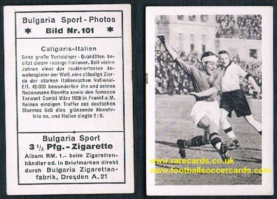 1932 Juventus Italia Caligaris German cigarette card by Bulgaria Tobacco